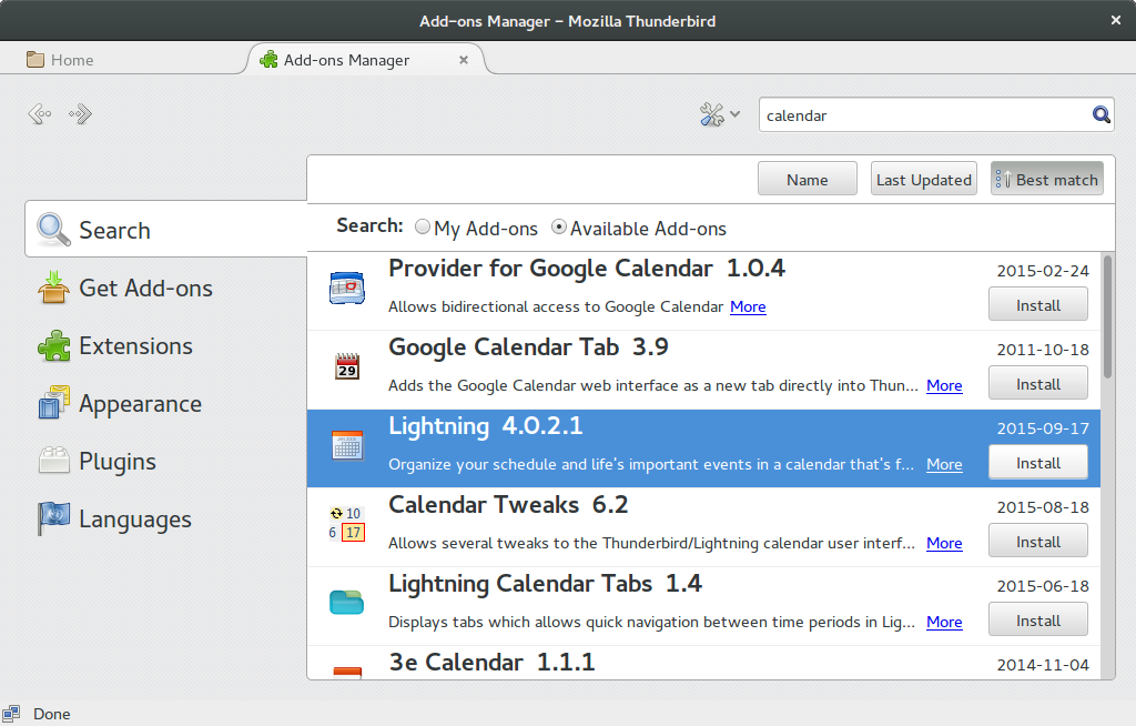 Installing Lightning Calendar add-on