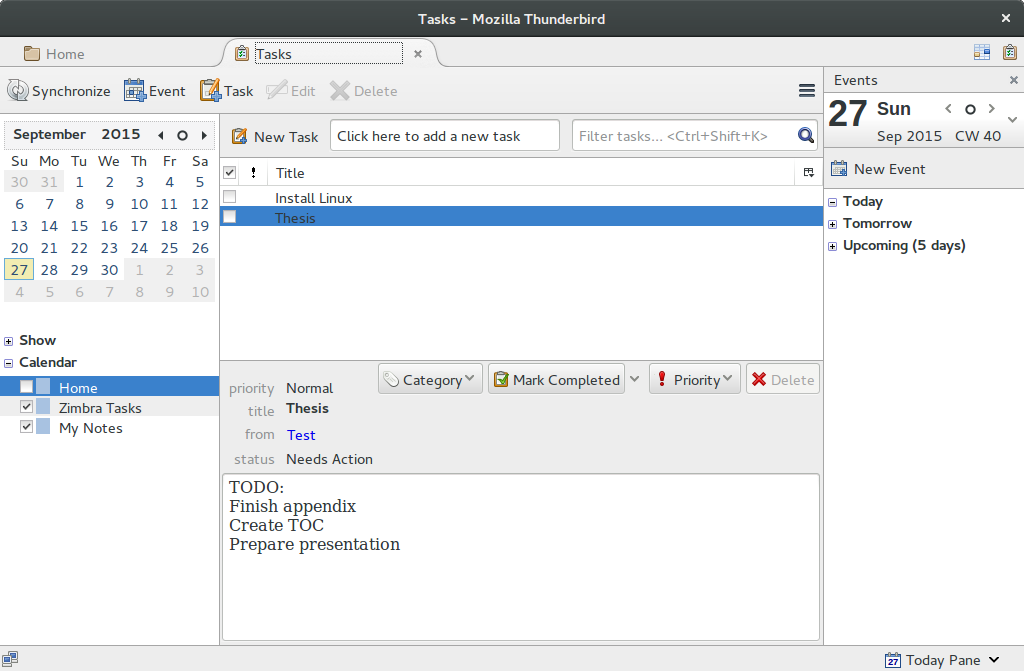 Thunderbird task overview