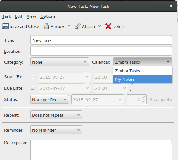 Add new task from Thunderbird